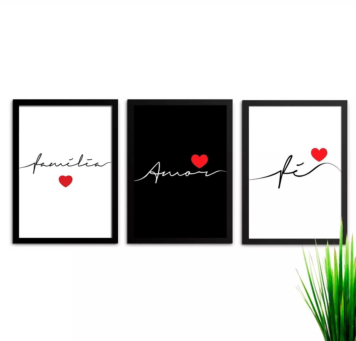 26765f44c conjunto kit de quadros amor família fé 45x33 cada quadro. Carregando zoom.