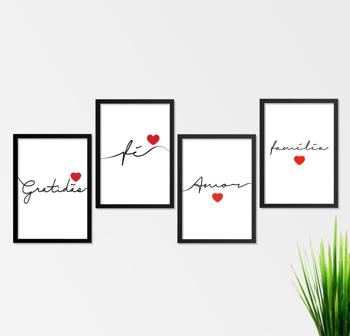 e2b81f53f conjunto kit de quadros amor família fé gratidão. Carregando zoom.