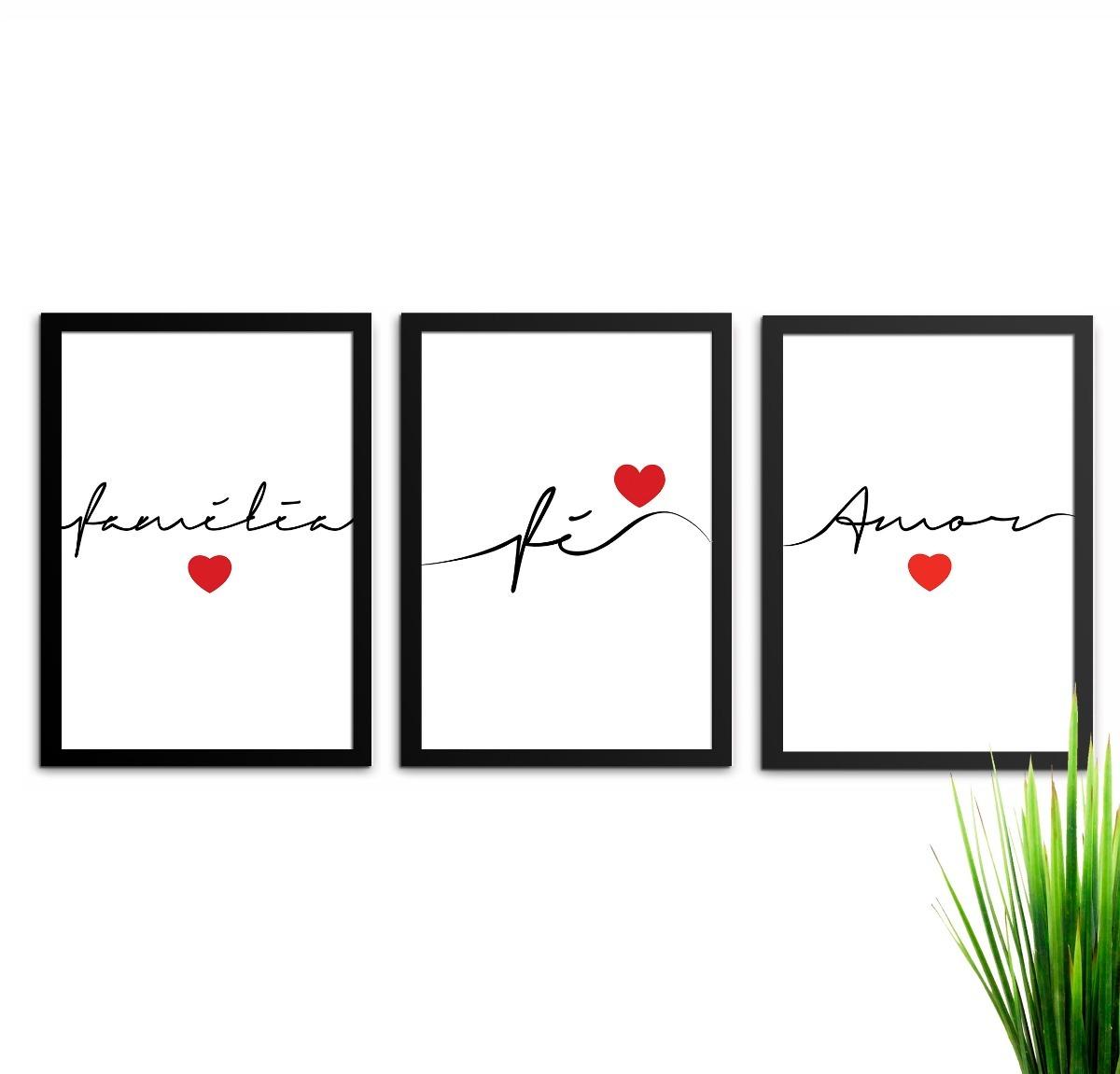 91c4e2100 conjunto kit de quadros decorativos amor família fé. Carregando zoom.