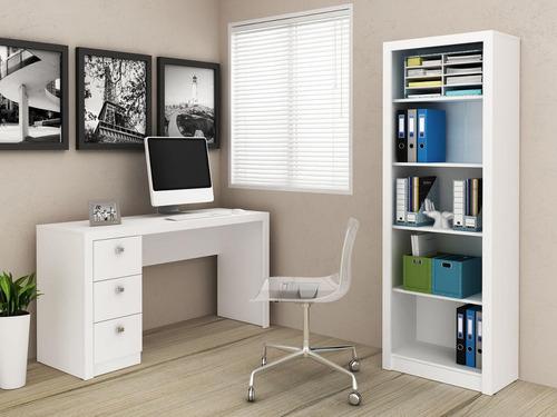 Conjunto Kit Home Office C Mesa E Estante Alta Branco Re R 639 90 Em Mercado Livre