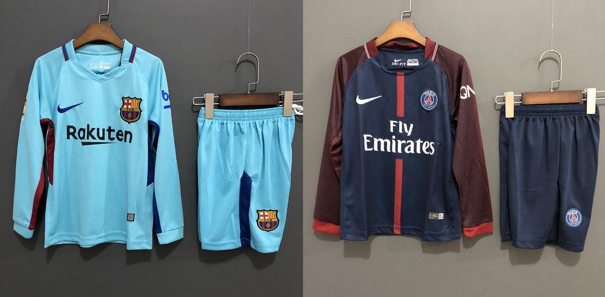 c754d8afbd conjunto kit infantil psg e barcelona 17 2018 camisa e short. Carregando  zoom.