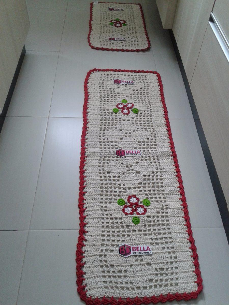Conjunto De Cozinha Em Croche No Mercado Livre Brasil -> Tapete De Tecido Para Cozinha