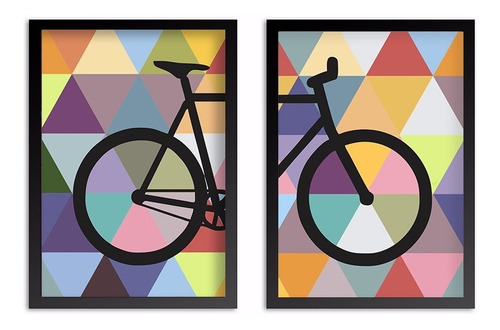 conjunto kit quadros poster bike colorida bicicleta abstrata