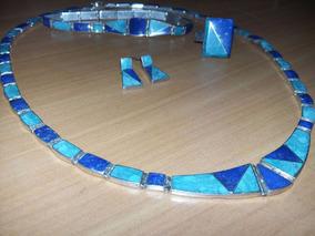cfca6c1ee289 Conjunto Lapislazuli Collar, Anillo, Pulsera Y Aron En Plata