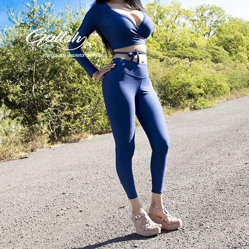 conjunto leggins con blusa super sexy de dama leggins azul