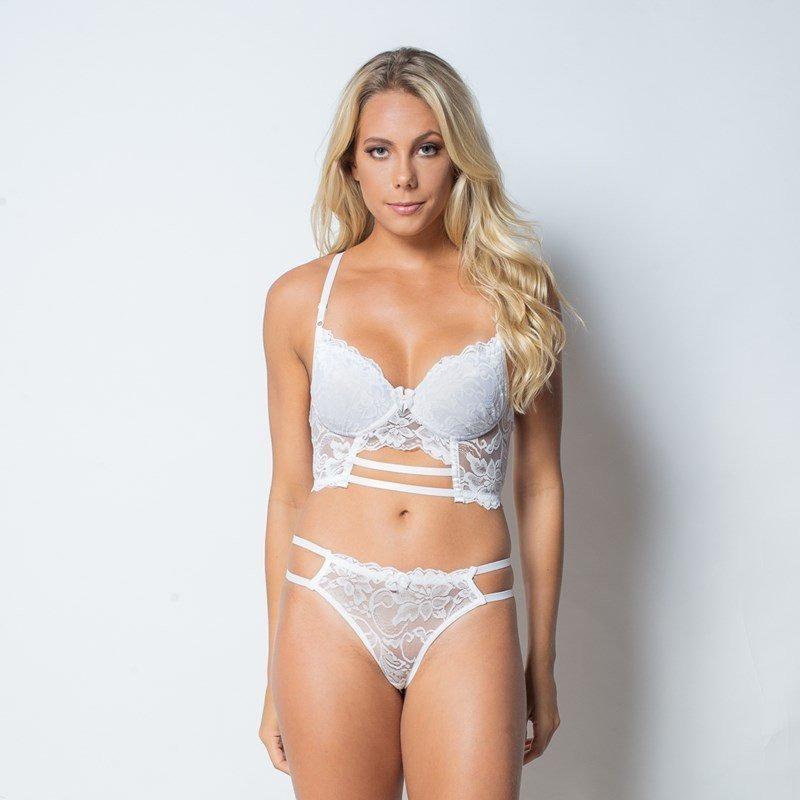 conjunto lingerie cropped strappy bra em renda com lacinho k. Carregando  zoom. d7aea614e76