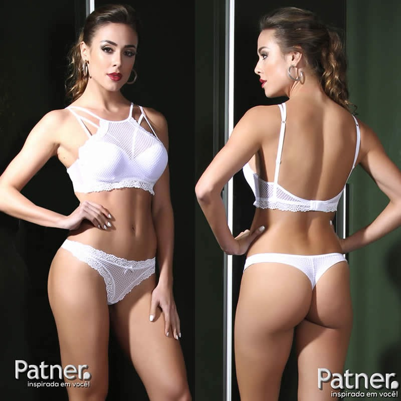 825d14dc6 conjunto lingerie de calcinha e sutiã top strappy branco. Carregando zoom.