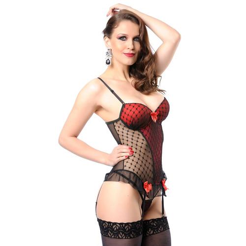 conjunto lingerie espartilho preto com detalhe atacado