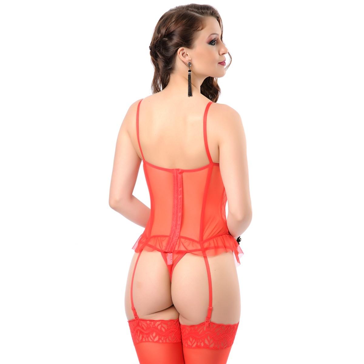 ad5adbc4f conjunto lingerie espartilho vermelho com detalhe feminino. Carregando zoom.