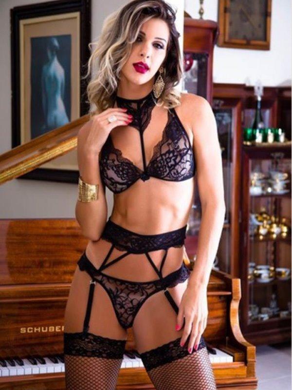 dfffbd460568f conjunto lingerie luxo sutiã calcinha sensual cinta liga. Carregando zoom.