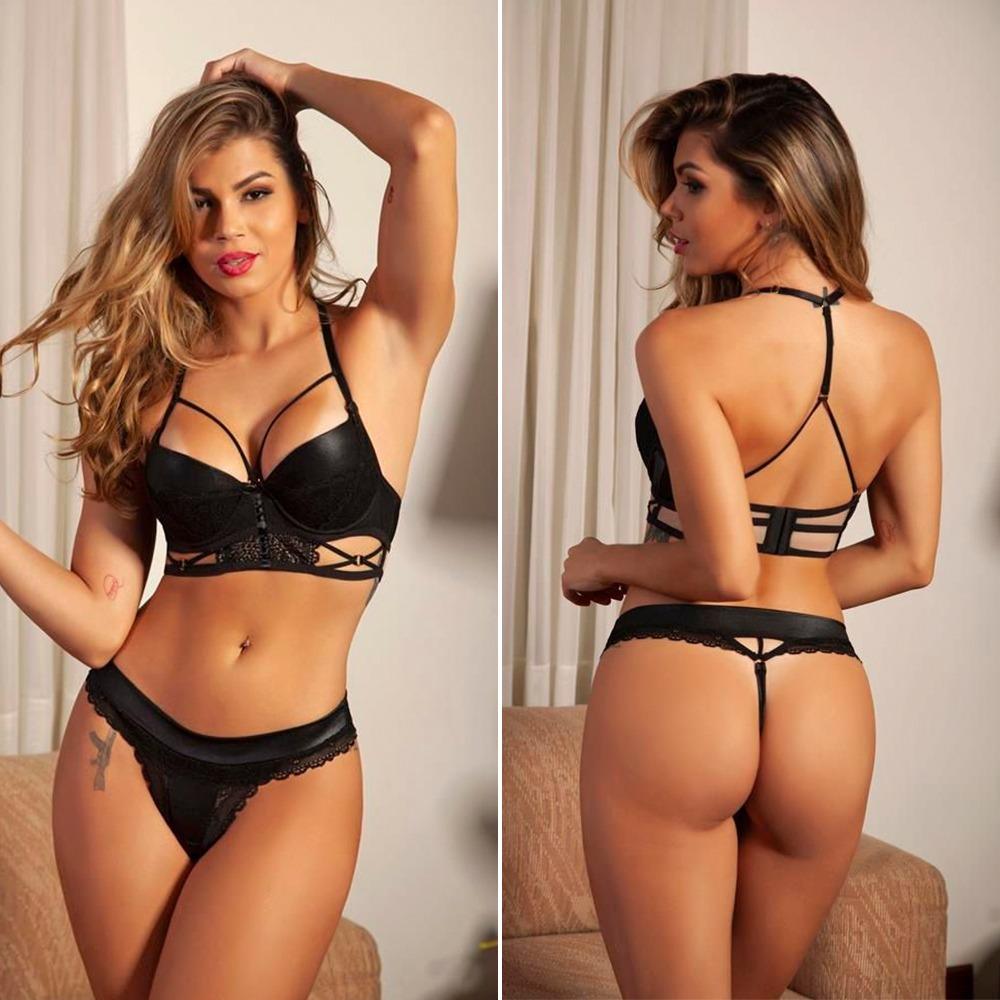 6dfac765d conjunto lingerie preta renda com bojo sexy sensual gv. Carregando zoom.