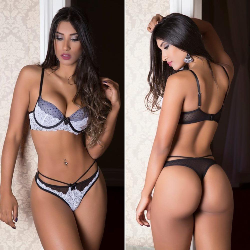92fb3216e conjunto lingerie preto e branco tule renda sexy sensual gv. Carregando zoom .