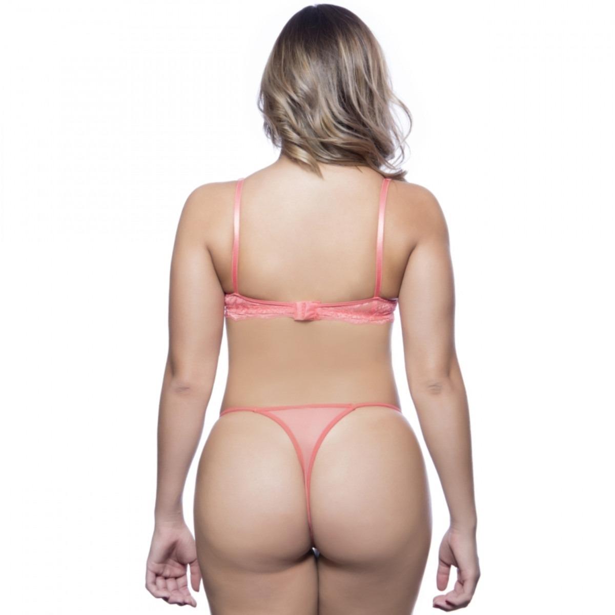 b68619d1f Conjunto Lingerie Sexy Renda Colombian Com Bojo Tam Gg - R  44