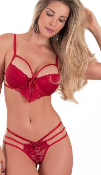 fd218081a7a86 Conjunto Lingerie Strappy Renda Tule Vermelho Bojo Luxo - R  45