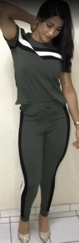 conjunto listrado calça e blusa creppe plus size roupas p ao exg casual melhor preço