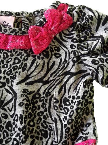 conjunto little lass rosa cinza 12m