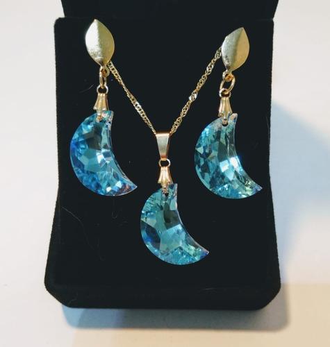conjunto lua cristal swarovski blue ab folheado a ouro 18k