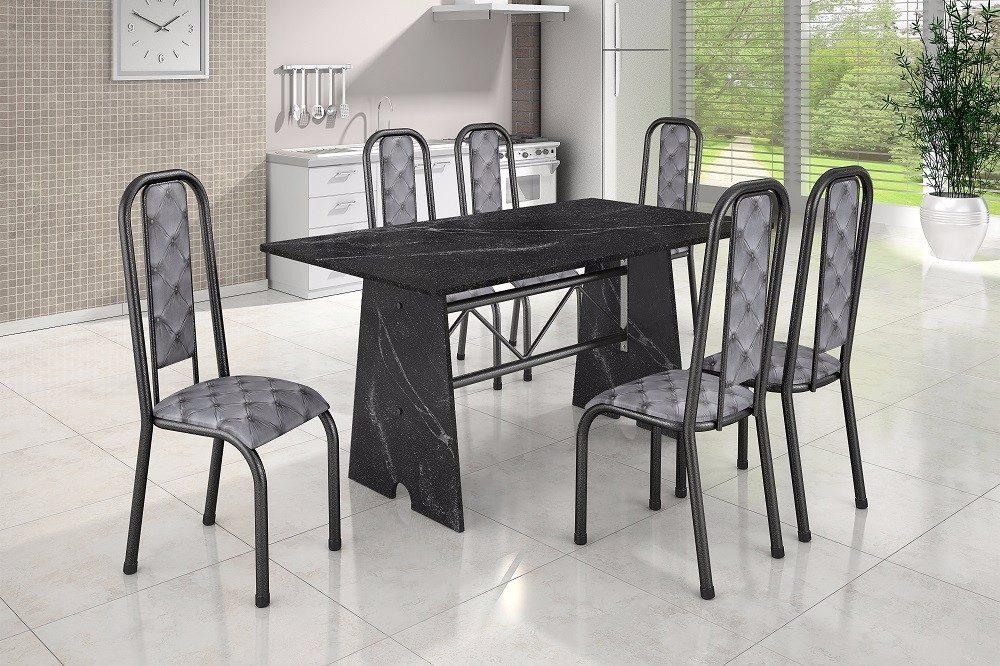 Conjunto madmelos com 6 cadeiras mesa em granito r 939 00 em mercado livre - Mesa de granito ...