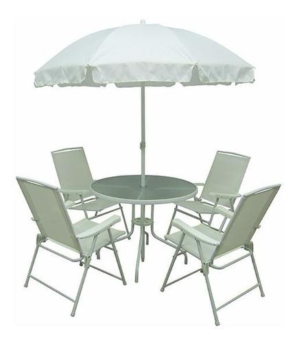 conjunto malibu 4 cadeira e mesa p jardim ou casa branco mor