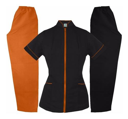 conjunto mao negro/naranja uniforme médico