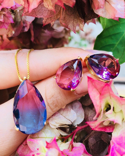 conjunto maravilhoso joia folheada rainbow pedra bicolor