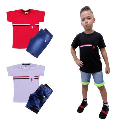 conjunto  masculino menino camiseta estampa e bermuda jeans