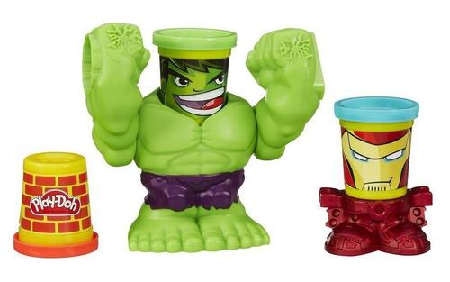 conjunto massinha play-doh marvel c/ hulk e homem de ferro