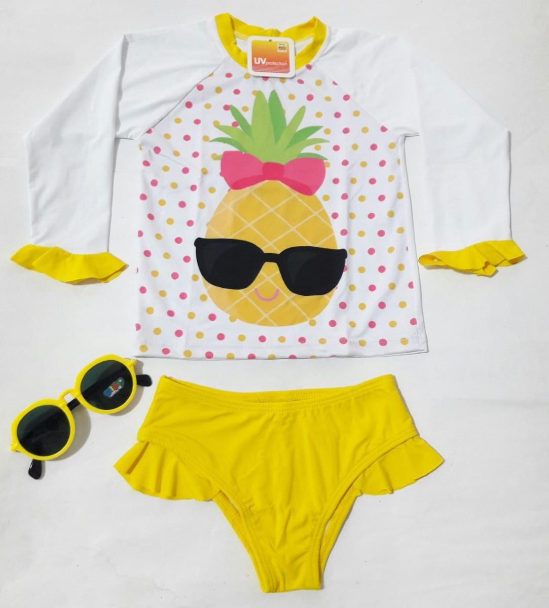 7917e507f Conjunto Menina Camisa Uv Biquíni Uv Infantil Lol Com Óculos - R  69 ...