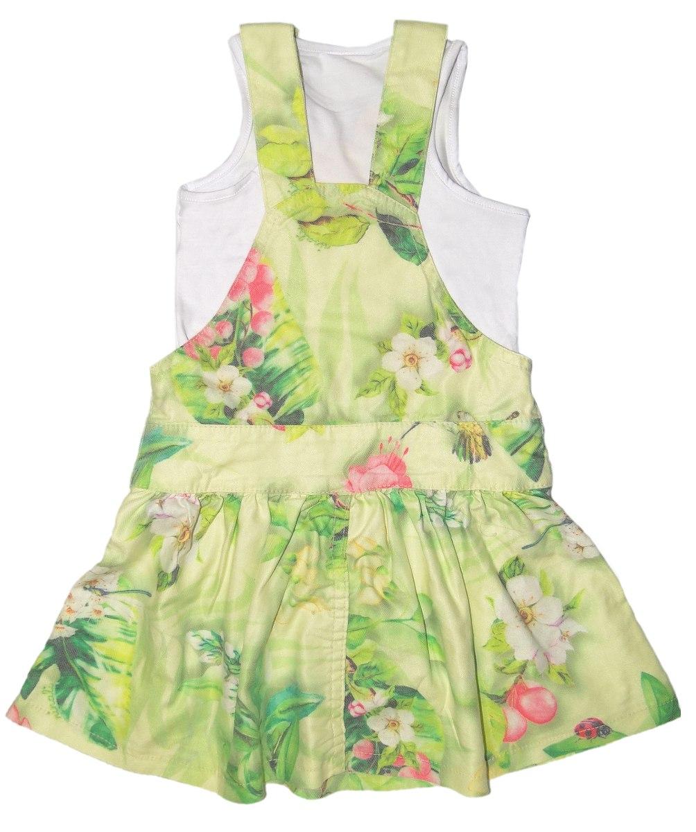 1375f9c0b20745 Conjunto Menina Jardineira-vestido Tropical Ninali