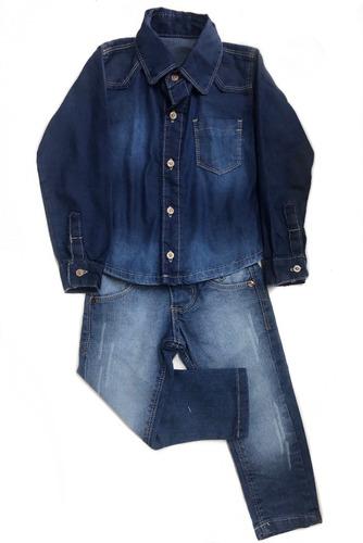 conjunto menino calça jeans + camisa jeans