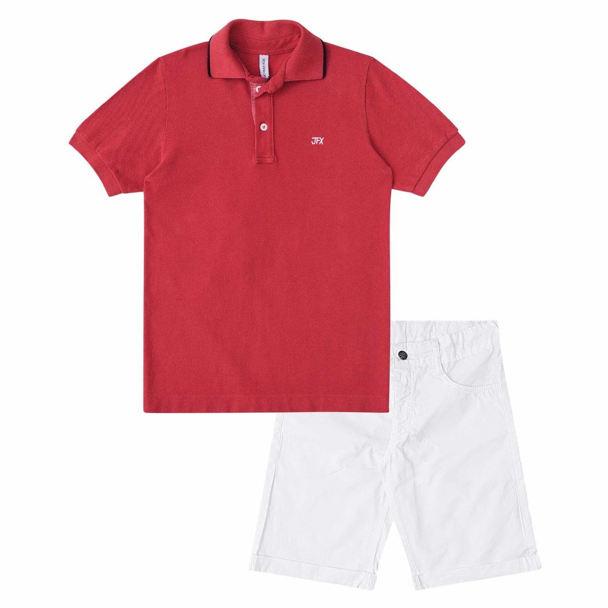 conjunto menino camisa polo vermelha e bermuda branca johnny. Carregando  zoom. 6175866ed9770