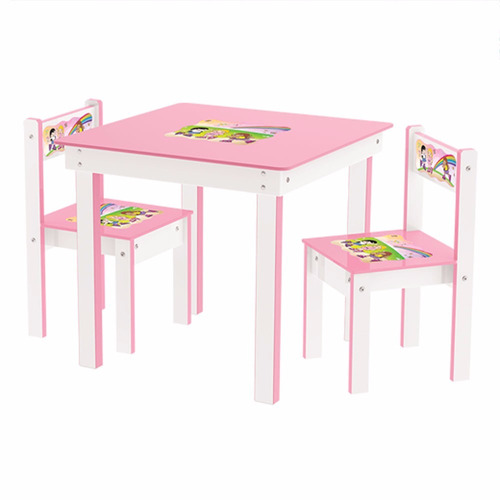conjunto mesa 2 cadeiras infantil rosa girls goplay junges