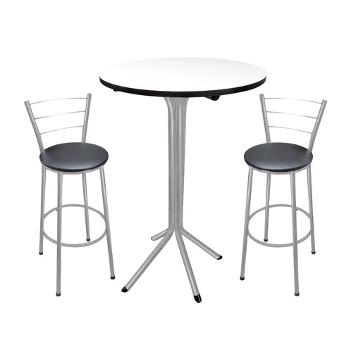 conjunto mesa bistrô e 2 banquetas prata tampo redondo 60cm