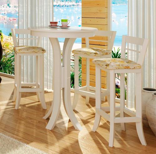 conjunto mesa bistro 3 banqueta alta com encosto