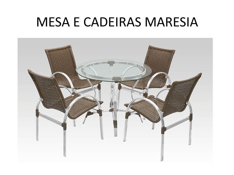 Conjunto mesa com 4 cadeiras em aluminio e fibra sint tica for Conjunto jardin fibra sintetica