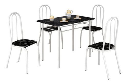 conjunto mesa com 4 cadeiras para cozinha tubular branca