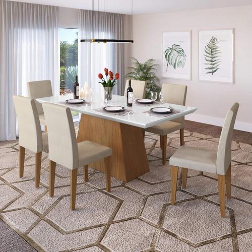 conjunto mesa de jantar com 6 cadeiras camarini mocca ca