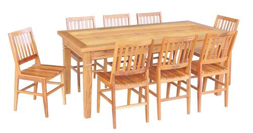 conjunto mesa de jantar em madeira demolição 2m 8 cadeiras