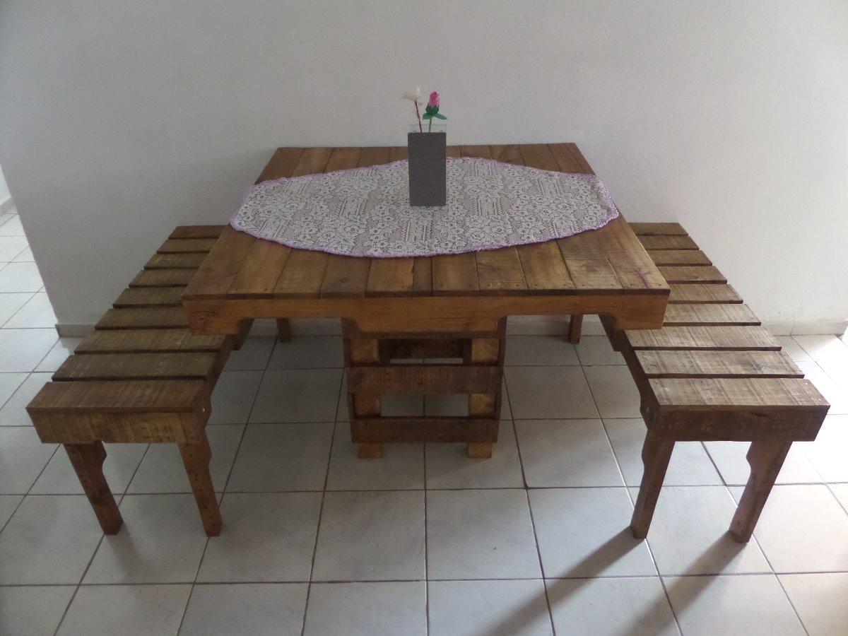 Conjunto mesa de pallet c 2 bancos pintado ou for Mesa de pallet