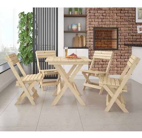 conjunto mesa dobrável 4 cadeiras siena móveis ji
