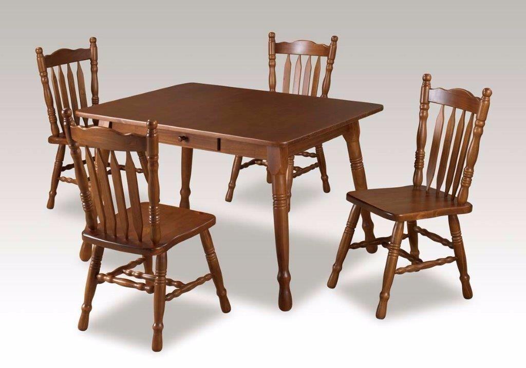 Conjunto Mesa E 4 Cadeiras Em Madeira De Pinus, Retangular - R$ 1.799 ...