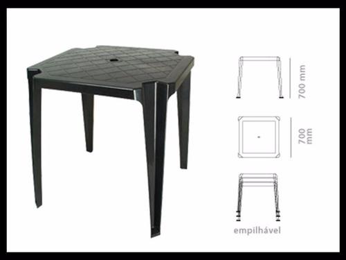 conjunto mesa e 4 cadeiras poltrona plastico preto 3 jogos