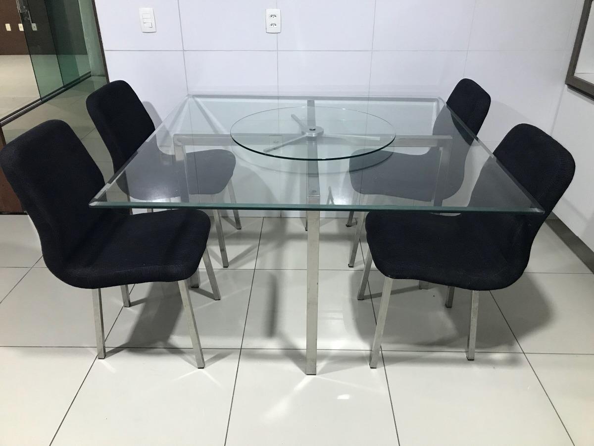 Artesanato Na Rede ~ Conjunto Mesa E Cadeiras Sala Jantar Em Aço Inox Com Vidro R$ 1 900,00 em Mercado Livre
