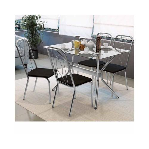 conjunto mesa loire com tampo de vidro e 4 cadeiras viena cr