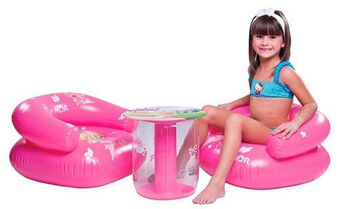 conjunto mesa mesinha com cadeira infantil fada poltrona