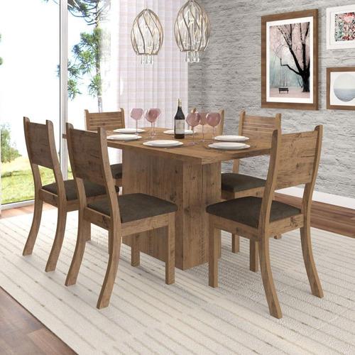 conjunto mesa prada 6 cadeiras viero