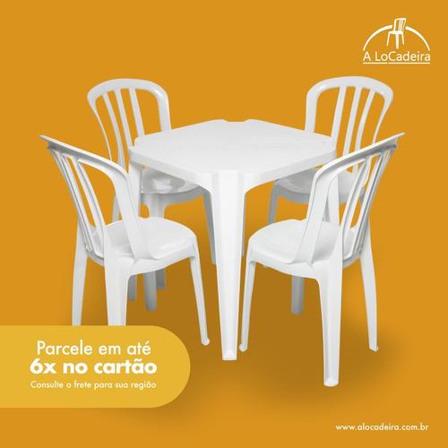 conjunto mesa quadrada + 4 cadeiras plásticas (pvc)