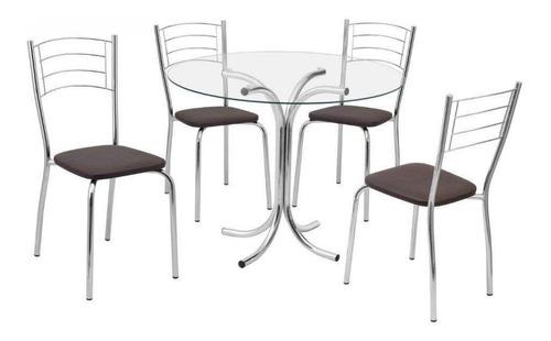 conjunto mesa redonda tampo vidro e 4 cadeiras assento cawt