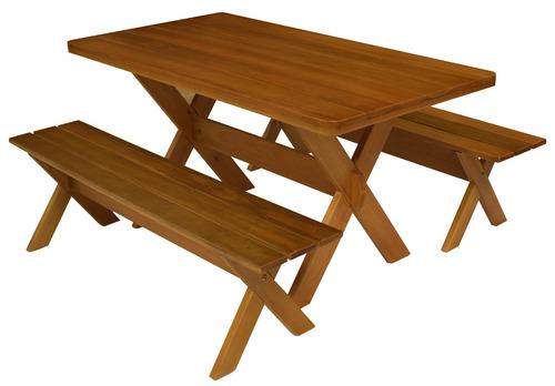 conjunto mesa rústica com bancos + madeira + churrasco 1,60m
