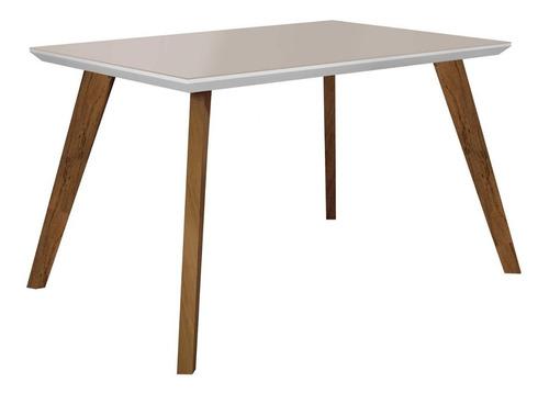 conjunto mesa tampo de vidro off white lavínia e 4 gi